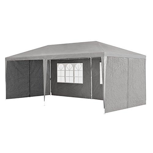partyzelt pavillon gartenzelt 3x6m mit seitenw nden in dunkelgrau camping online shop. Black Bedroom Furniture Sets. Home Design Ideas