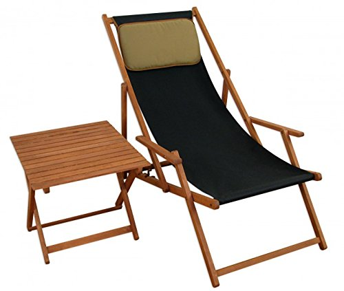erst holz deckchair schwarz gartenliege sonnenliege strandstuhl tisch kissen buche klappbar 10. Black Bedroom Furniture Sets. Home Design Ideas