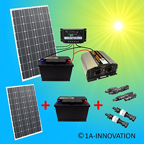 komplette 220v solaranlage t v mit 2x 100ah akkus 200w. Black Bedroom Furniture Sets. Home Design Ideas